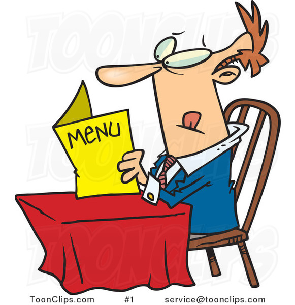 Cartoon White Guy Sitting at a Table and Reading a Menu at a Restaurant