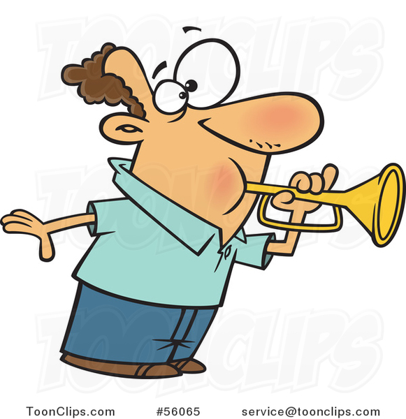 Cartoon White Guy Tooting a Horn