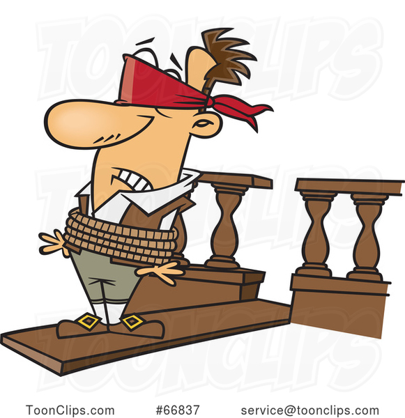 Cartoon White Guy Walking a Plank