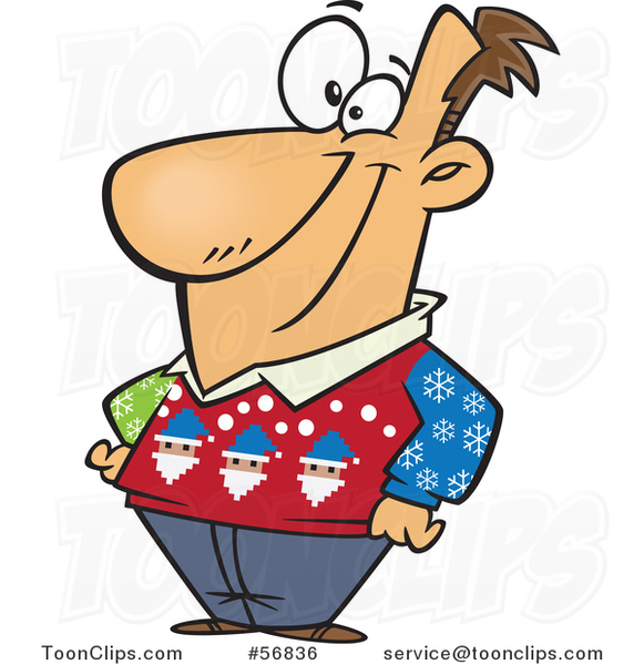 Cartoon White Guy Wearing an Ugly Christmas Sweater