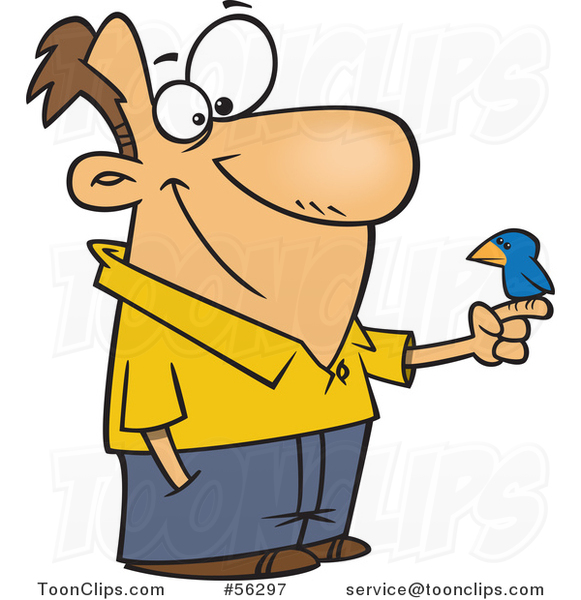 Cartoon White Guy with a Blue Bird Perched on His Finger