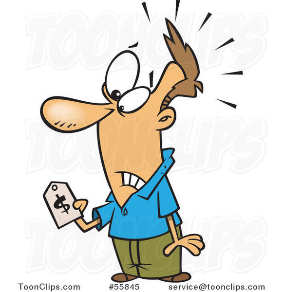 Cartoon White Guy with Sticker Shock, Holding a Price Tag