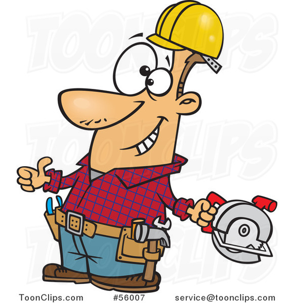 Cartoon White Handy Guy Decked out with Tools and Holding a Thumb up