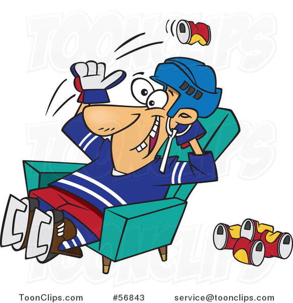 Cartoon White Hockey Player or Fan Sitting in a Chair and Tossing Back Beer Cans