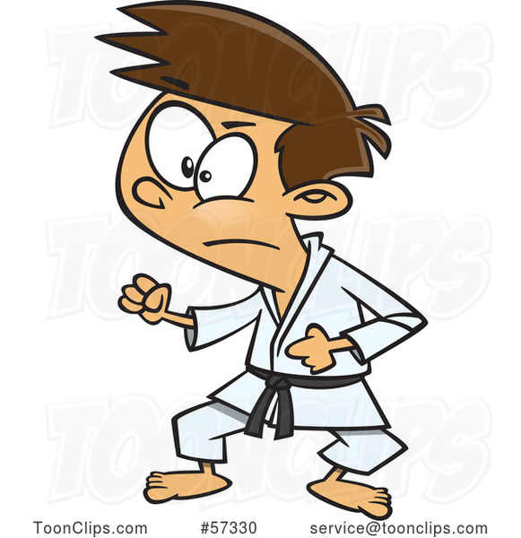 Cartoon White Karate Boy in a Fighting Stance