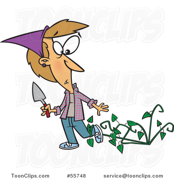Cartoon White Lady Being Attacked by Bad Weeds