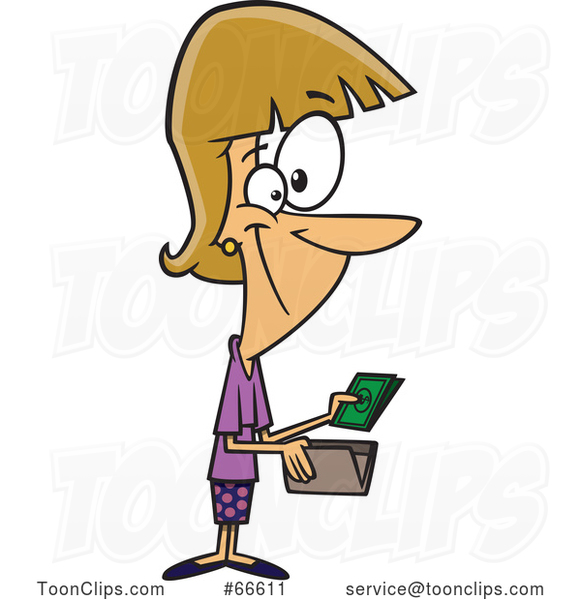 Cartoon White Lady Holding Cash from a Wallet
