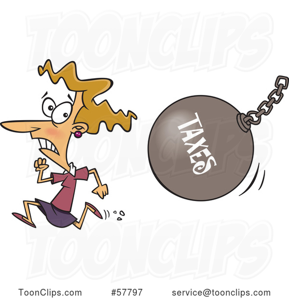 Cartoon White Lady Running from a Taxes Wrecking Ball