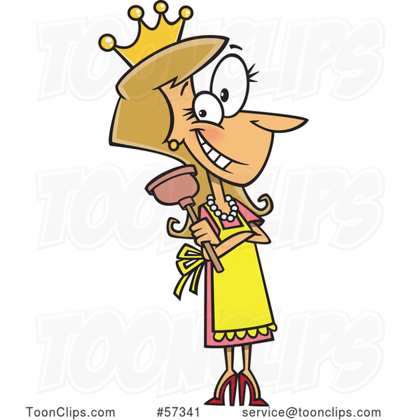 Cartoon White Lady Wearing a Crown and Holding a Plunger