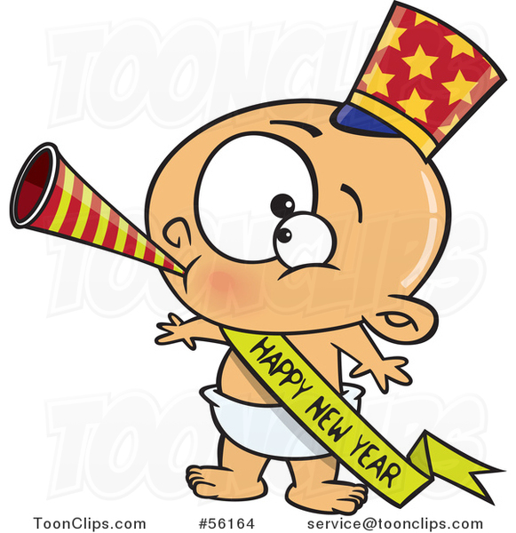 Cartoon White New Year Baby Blowing a Horn, Wearing a Top Hat and a Banner