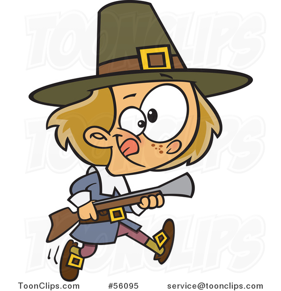 Cartoon White Pilgrim Boy Hunting with a Blunderbus