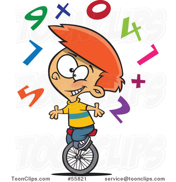 Cartoon White School Boy Juggling Numbers on a Unicycle