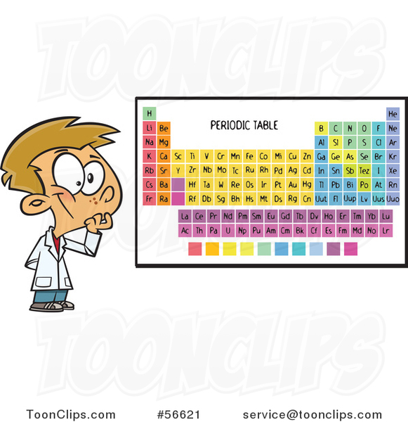 Cartoon White School Boy Thinking by a Periodic Table
