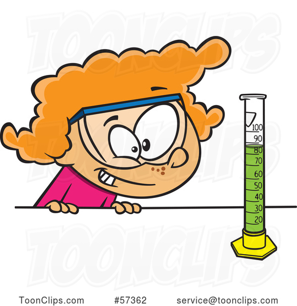 Cartoon White School Girl Looking at a Science or Chemistry Cylinder