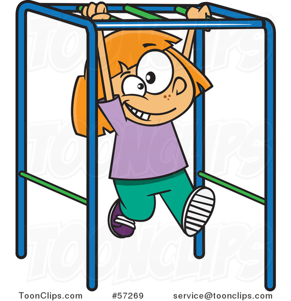 Cartoon White School Girl Playing on Playground Monkey Bars