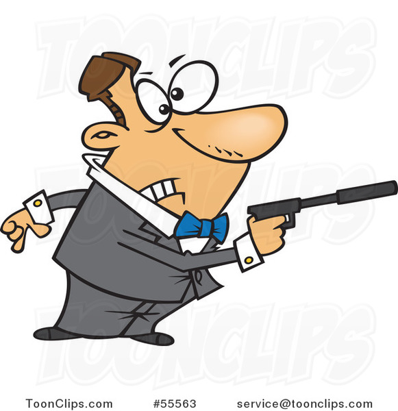 Cartoon White Secret Angent Pointing a Gun with a Silencer