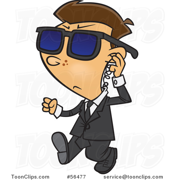 Cartoon White Security Boy Walking and Adjusting an Ear Piece