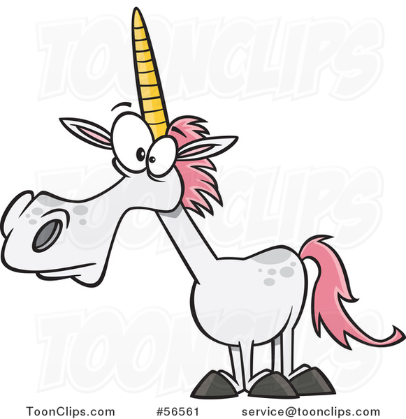 Cartoon White Unicorn with Pink Hair