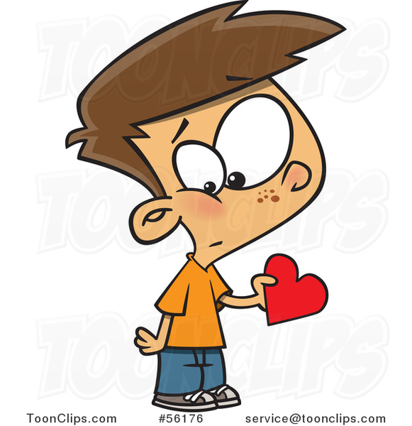 Cartoon White Valentines Day Boy Holding a First Love Heart