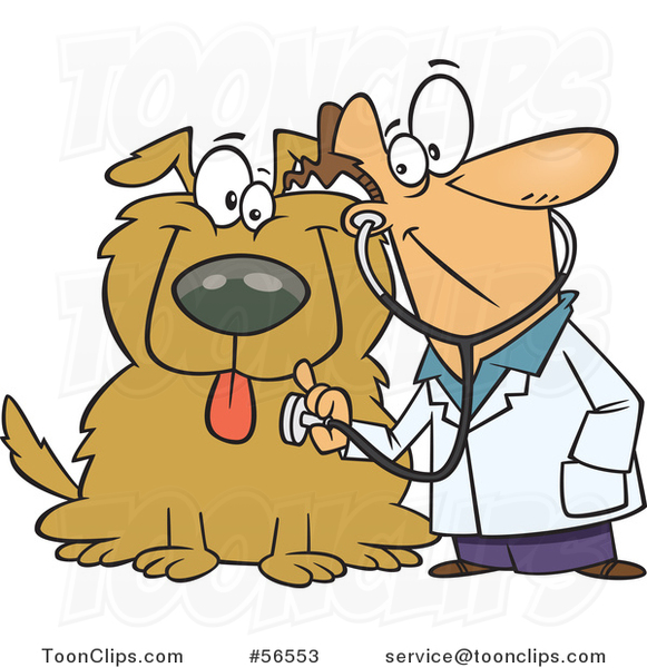 Cartoon White Veterinarian Using a Stethoscope on a Big Dog