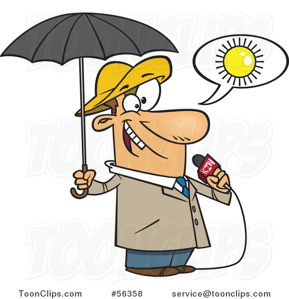 Cartoon White Weather Guy Lying About Sunny Weather but Ready for Rain