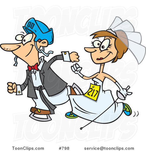 Cartoon White Wedding Couple Running in a Race