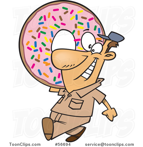 Cartoon White Worker Guy Carrying a Giant Sprinkle Donut