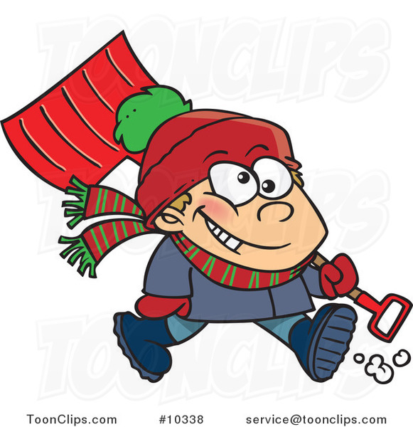 Cartoon Winter Boy Carrying a Snow Shovel