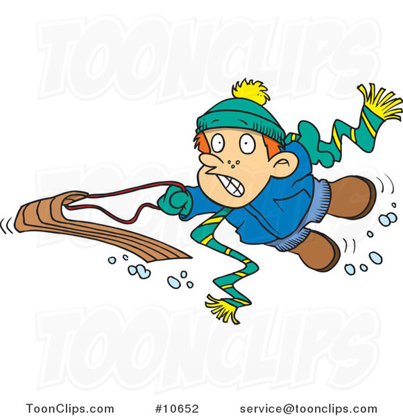 Cartoon Winter Boy Falling off His Sled