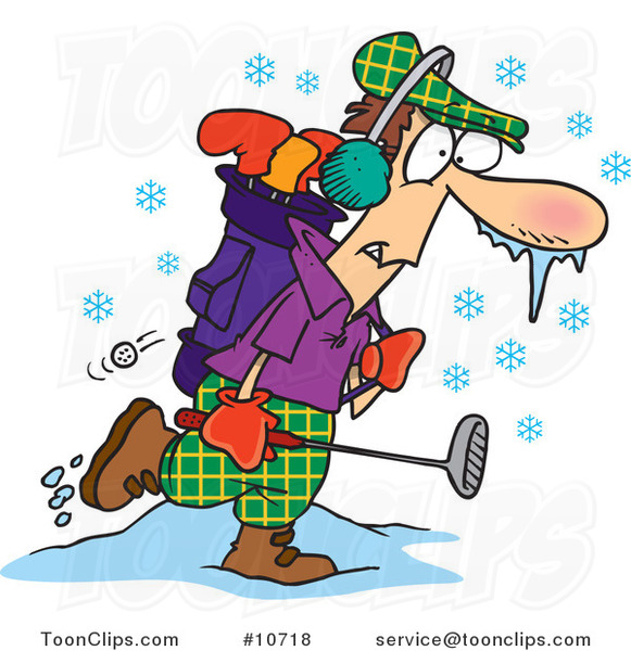 Cartoon Winter Golfer