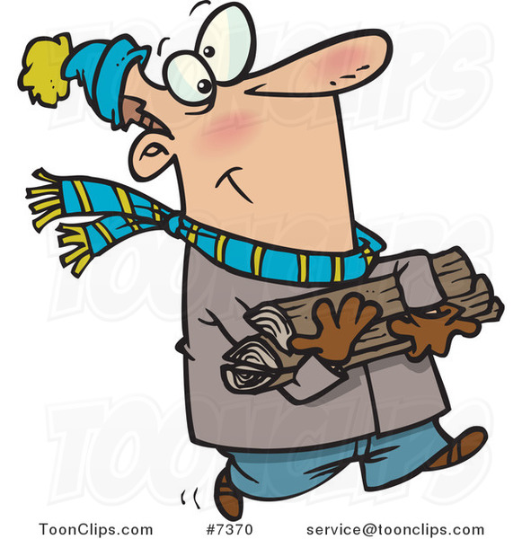 Cartoon Winter Guy Carrying Firewood