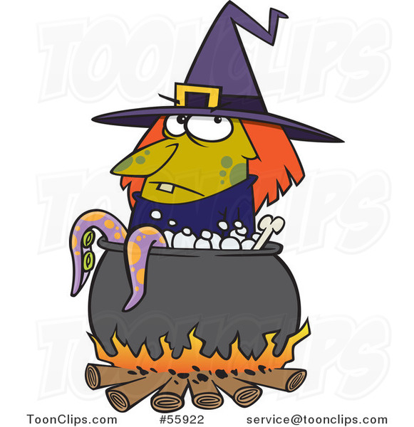 Cartoon Witch by a Boiling Cauldron with Tentacles