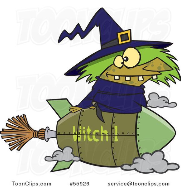 Cartoon Witch Flying on a Rocket Broomstick