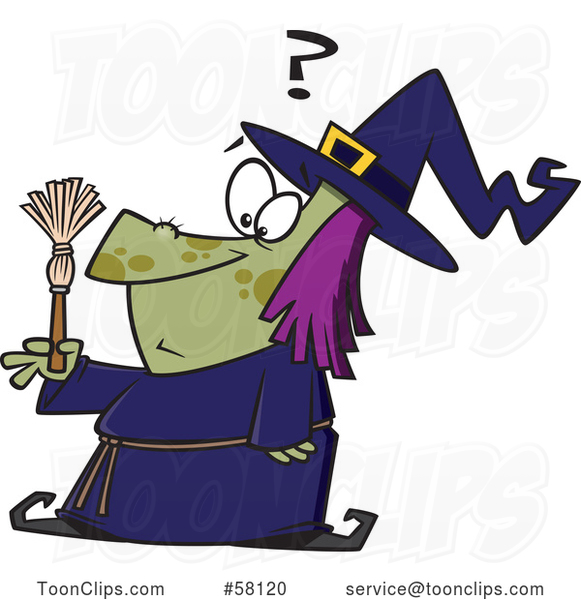 Cartoon Witch Looking at a Tiny Broom