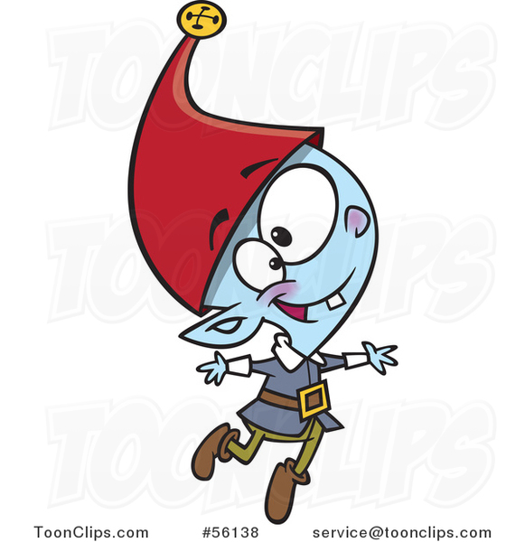 Cartoon Young Christmas Elf Jumping