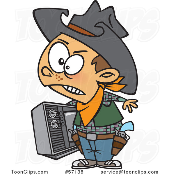 Cartoon Young Cowboy Carrying a Tv