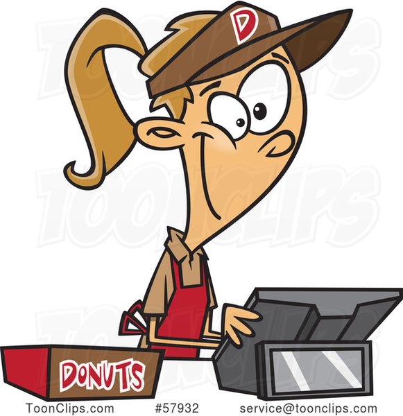 Cartoon Young White Lady Selling Donuts