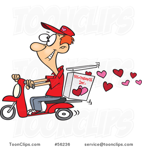 Cartoon Young White Valentine Hearts Delivery Guy on a Scooter