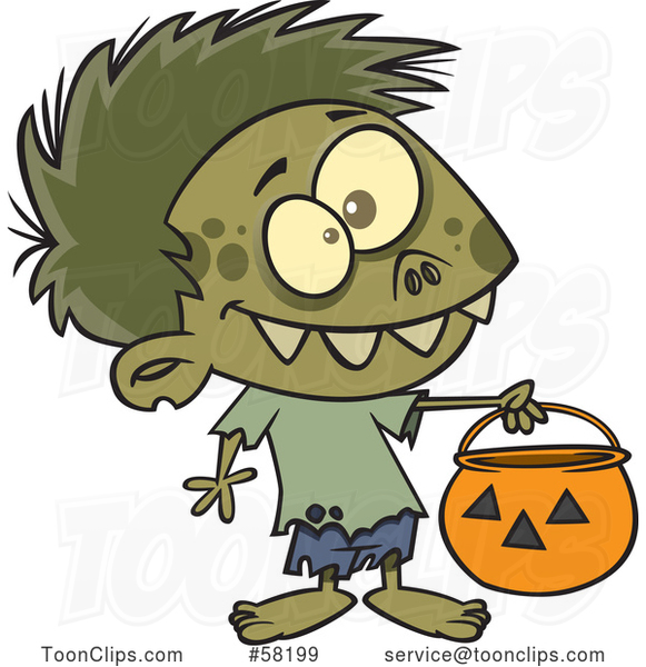 Cartoon Zombie Boy in a Bear Halloween Costume, Holding out a Trick or Treat Pumpkin Bucket