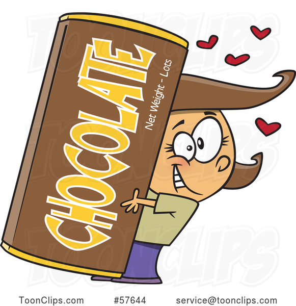 Clipart of a | Cartoon Happy Brunette White Girl Hugging a Giant Chocolate Bar| Royalty Free Vector Illustration