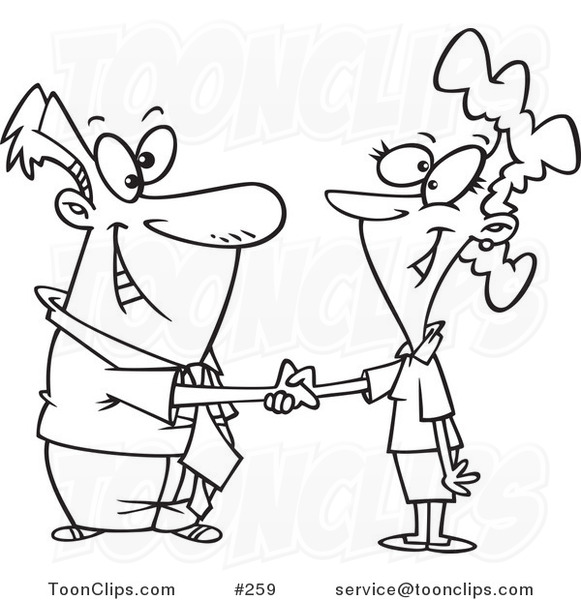 Kids Shake Hands Coloring Pages