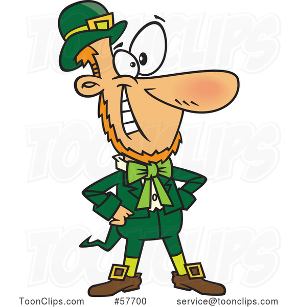 Confident Cartoon St. Patrick's Day Leprechaun Grinning