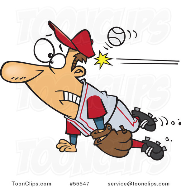 Distracted Baseball Player Getting Whacked in the Head Cartoon