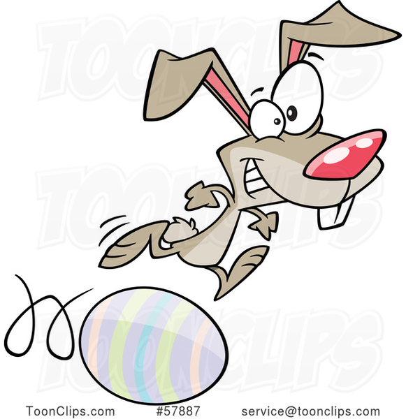 Easter Cartoon Bunny Running on and Rolling an Egg