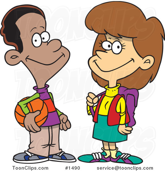 Friendly Black Cartoon Teen Boy Talking to a School Girl
