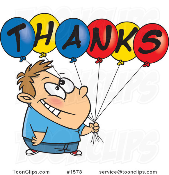 Grateful Cartoon Boy Holding Thanks Balloons 1573 By Ron