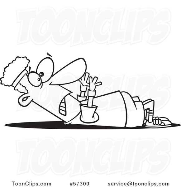 Guy Struggling to Do Sit Ups - Cartoon Black and White Lineart