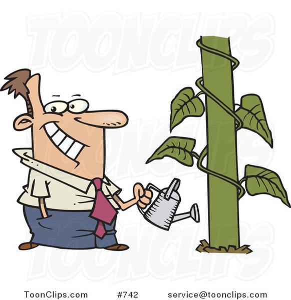 Happy Cartoon Business Man Watering a Monstrous Plant Showing Business Growth