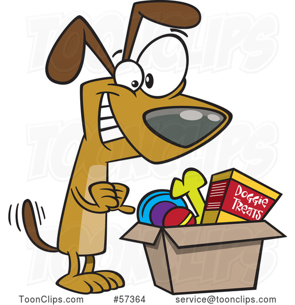 Happy Cartoon Dog Wagging His Tail and Looking in a Surprise Box