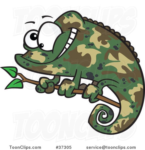 Happy Cartoon Green Chameleon Lizard with Camouflage Patterns